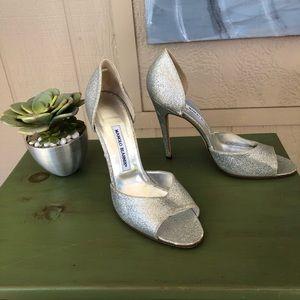 Manolo Blahnik Silver Heels Size 40 1/2